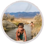 Child And Mother Playing In Hot Springs Round Beach Towel