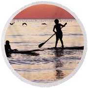 Child Art - Magical Sunset Round Beach Towel by Sharon Cummings