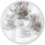Child Cherub Round Beach Towel