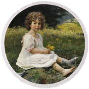 Child In The Meadow Round Beach Towel