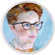 Child With Glasses Round Beach Towel