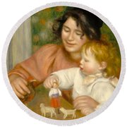 Child With Toys Gabrielle And The Artist S Son Jean Round Beach Towel by Pierre Auguste Renoir