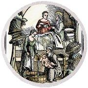 Childbirth, 1499 Round Beach Towel