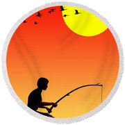 Childhood Dreams 3 Fishing Round Beach Towel