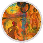 Childhood Friends - I Remember You Round Beach Towel