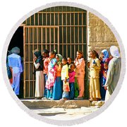 Children And Tourists At Entry To Temple Of Hathor In Dendera-egypt Copy Round Beach Towel by Ruth Hager
