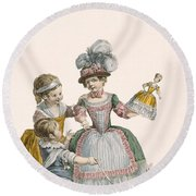 Children At Play, Engraved By Patas Round Beach Towel