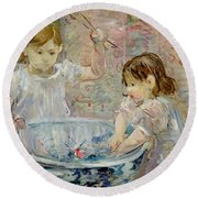 Children At The Basin Round Beach Towel