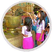 Children Bring Lotus Flowers To Royal Temple At Grand Palace Of Thailand Round Beach Towel