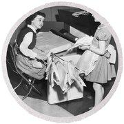 Children Doing Housework Round Beach Towel