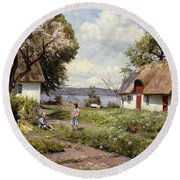 Children In A Farmyard Round Beach Towel by Peder Monsted