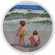 Children On The Beach Round Beach Towel