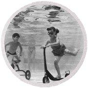 Children Playing Under Water Round Beach Towel