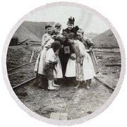 Children With Camera, C1900 Round Beach Towel