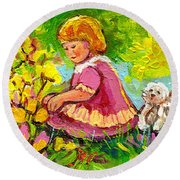 Children's Art - Little Girl With Puppy - Paintings For Children Round Beach Towel