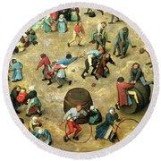 Childrens Games Kinderspiele Detail Of Bottom Section Showing Various Games, 1560 Oil On Panel Round Beach Towel