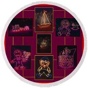 Children's Toys In Lights Poster Round Beach Towel