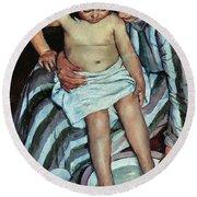 Child's Bath Round Beach Towel by Mary Cassatt