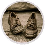 Child's Old Leather Shoes Round Beach Towel by Edward Fielding