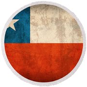 Chile Flag Vintage Distressed Finish Round Beach Towel