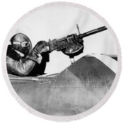 Chilly Army Air Corp Plane Round Beach Towel