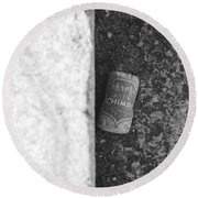 Chimay Wine Cork In Black And White Round Beach Towel