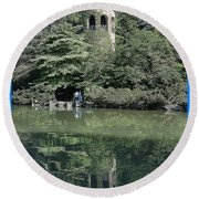 Chimes Tower Reflection Round Beach Towel