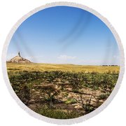 Chimney Rock - Bayard Nebraska Round Beach Towel