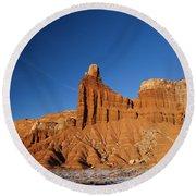 Chimney Rock Capitol Reef National Park Utah Round Beach Towel