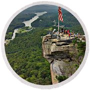 Chimney Rock Overlook Round Beach Towel