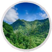 Chimney Tops Mountain In Great Smoky Mountains  Round Beach Towel