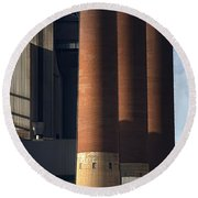 Chimneys Of Coal Power Station. Round Beach Towel
