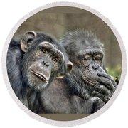 Chimp Couple Round Beach Towel