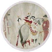China Concubine & Horse Round Beach Towel