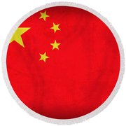 China Flag Vintage Distressed Finish Round Beach Towel