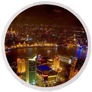 China Shanghai At Night  Round Beach Towel