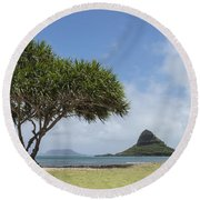 Chinamans Hat With Tree - Oahu Hawaii Round Beach Towel
