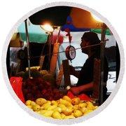 Chinatown Fruit Vendor Round Beach Towel