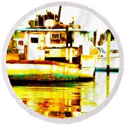 Chincoteague Boat Reflections Round Beach Towel