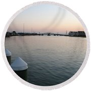 Chincoteague Sound In The Eveninglight Round Beach Towel