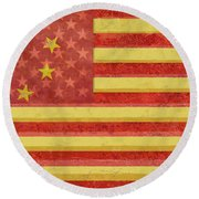 Chinese American Flag Blend Round Beach Towel
