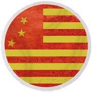 Chinese American Flag Round Beach Towel