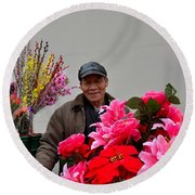 Chinese Bicycle Flower Vendor On Street Shanghai China Round Beach Towel