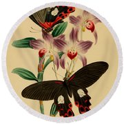 Chinese Butterflies Round Beach Towel by Philip Ralley