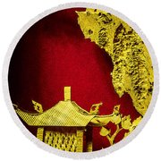 Chinese Cork Carving 2 Round Beach Towel