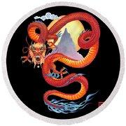Chinese Dragon On Black Round Beach Towel