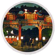 Chinese Entrance Arch Round Beach Towel