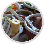 Chinese Food Miniatures 3 Round Beach Towel