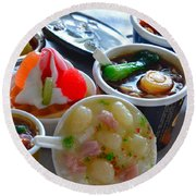 Chinese Food Miniatures 4 Round Beach Towel