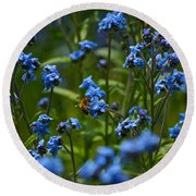 Chinese Forget Me Nots And Honey Bee Round Beach Towel